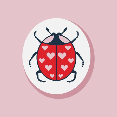 Saint Valentines Day Ladybug Love Flat Sticker