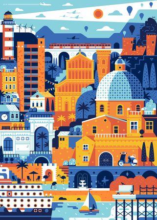 Mediterranean Italy Sea Town Cagliari Travel Poster