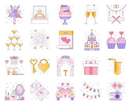 Wedding and Marriage Ceremony Line Icon Set 矢量图像