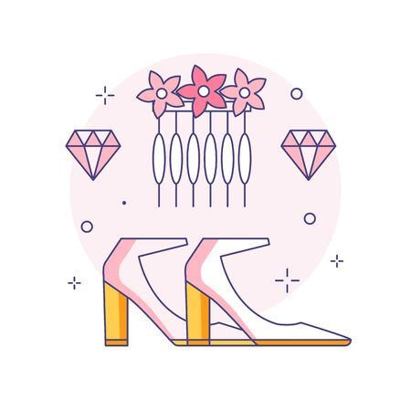 Bridal heeled shoes and hair accessories icon in line art. Comb decorated with flowers and gems or crystals for fiancee hairstyle in linear illustration.