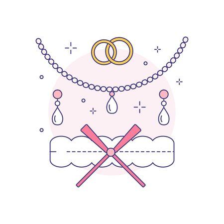 Bridal jewelery and garter thin line icon. Earrings with gems, pearl necklace, golden wedding rings and lingerie element in vector linear illustration. 矢量图像