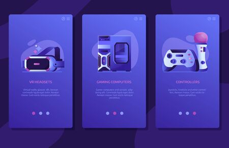 Online VR Gaming UI Screens Templates Design Illustration