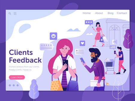 Excellent Clients Feedback Landing Page Template in Flat