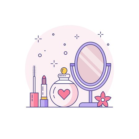 Bridal makeup kit line art icon. Mascara, lipstick, perfume and vanity mirror in colored linear illustration. Ilustrace