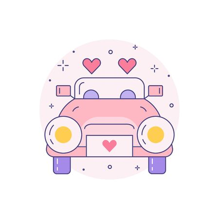 Just married wedding car icon in line art. Pink vintage cabriolet for newlyweds with heart shape symbols. Newly married couple first drive vehicle linear illustration.
