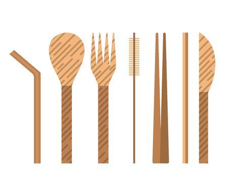 Ensemble d'ustensiles réutilisables en bambou avec cuillère, fourchette, couteau, baguettes, paille et brosse de nettoyage. Kit de voyage de couverts réutilisables en bois, ustensiles de cuisine écologiques et zéro déchet au design plat. Vecteurs