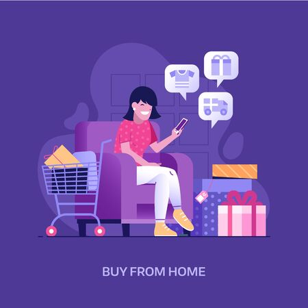 Happy Girl Shopping Online at Home Concept