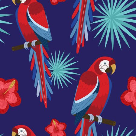 Tropical Design Red Macaw Parrot Seamless Pattern
