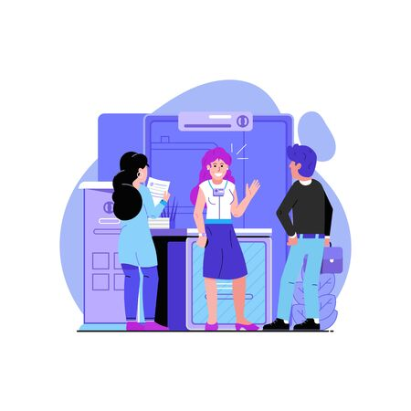 Company Promo Stand, Girl Promoter and People Illustration