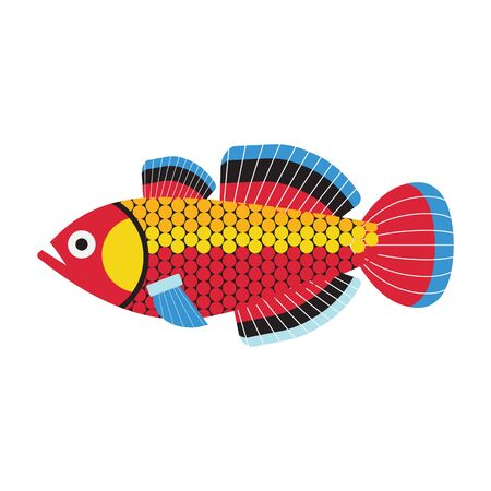 Tropical Funny Aquarium Fish Icon in Flat