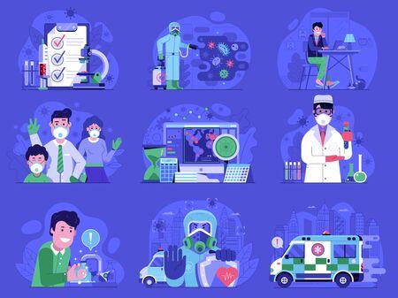 Corona Virus World Pandemic Icons Set