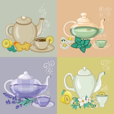 Different Herbal Tea in Cups and Teapots