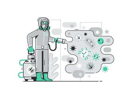 Disinfection Worker in Costume Sprays Chemicals on Virus Illustration