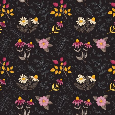 Seamless Pattern with Passionflower and Jasmine Herbs