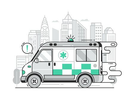 Fast Ambulance Car City Emergency Service Scene  イラスト・ベクター素材