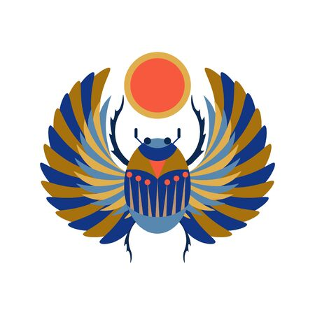 Egyptian Scarab Beetle Holding Sun Illustration in Flat  イラスト・ベクター素材