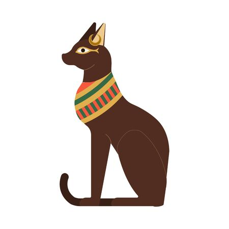 Bast Ancient Egyptian Goddess Cat Flat Illustration