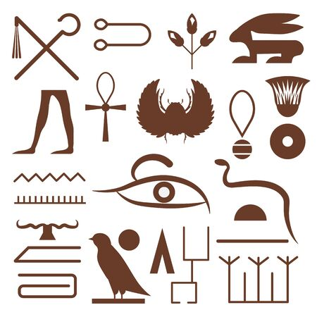 Outlined Hieroglyphs and Symbols from Ancient Egypt