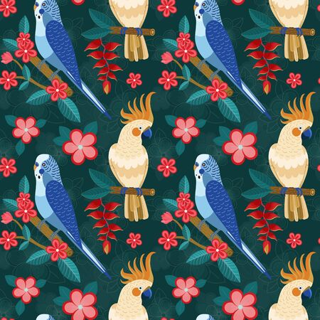 Flat Pattern with Exotic Parrots and Flowers