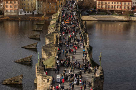 Lots of People on Stone Charles Bridge