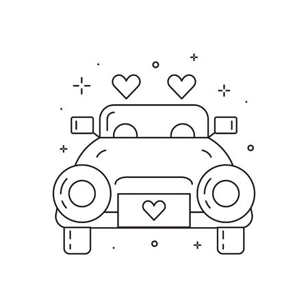Newly Married Wedding Car Line Art Icon