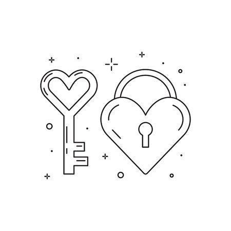 Heart Key and Love Lock Line Icons Illusztráció