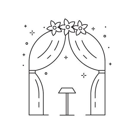 Wedding Ceremony Arch Icon in Line Art