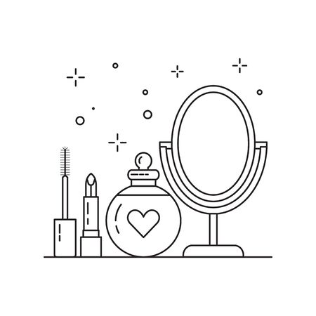 Bridal Make Up Kit Icon in Line Art