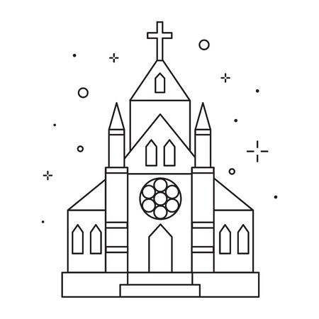 Christian Chapel or Church Icon in Line