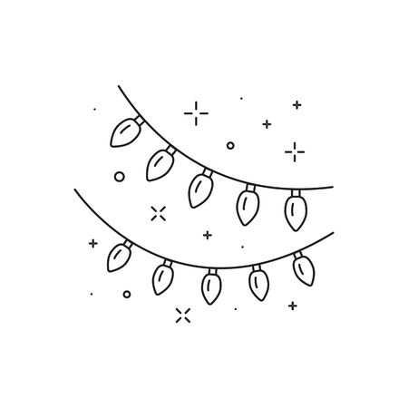 Festive Light Bulb Garland Line Art Icon  イラスト・ベクター素材