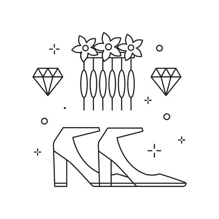 Bridal Heeled Shoes Icon in Line Art  イラスト・ベクター素材