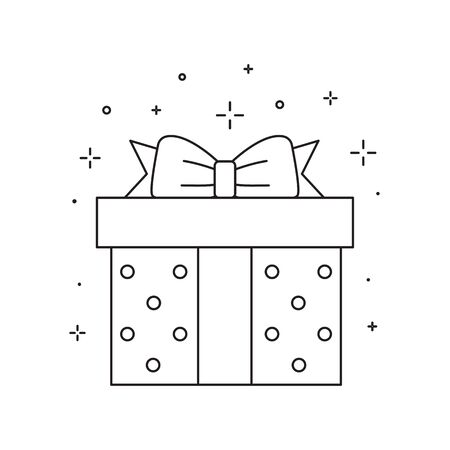 Gift Box with Ribbon Line Art Icon  イラスト・ベクター素材
