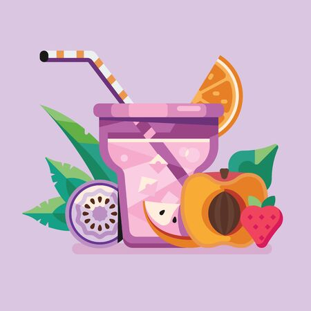 Exotic Fruit and Berry Summer Smoothie Cocktail  イラスト・ベクター素材
