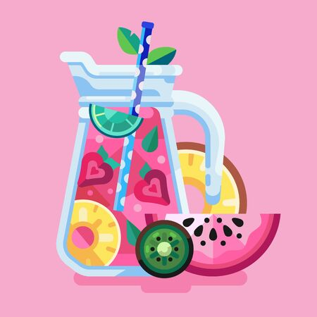 Exotic Fruit Summer Cocktail Shake or Smoothie  イラスト・ベクター素材