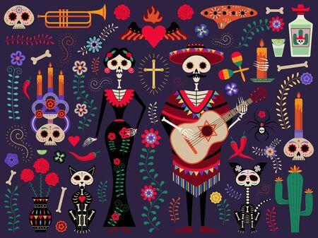 Mexican Day of the Dead Festival Set Illusztráció