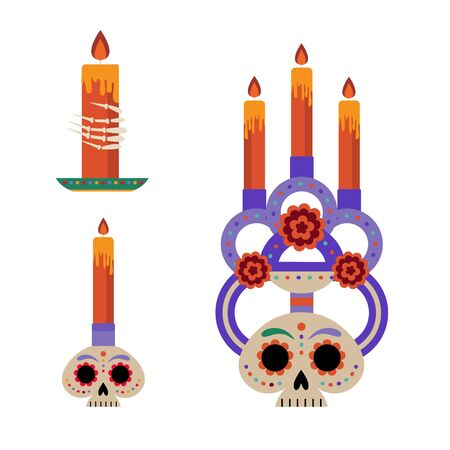 Mexican Day of Dead Candles in Flat 向量圖像