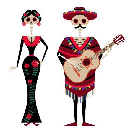 Mexican Day of Dead Decorated Skeleton Couple