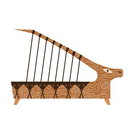 Ethnic Kazakh Music Instrument Adyma in Flat