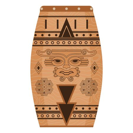 Ethnic Mexican Music Percussion Instrument in Flat