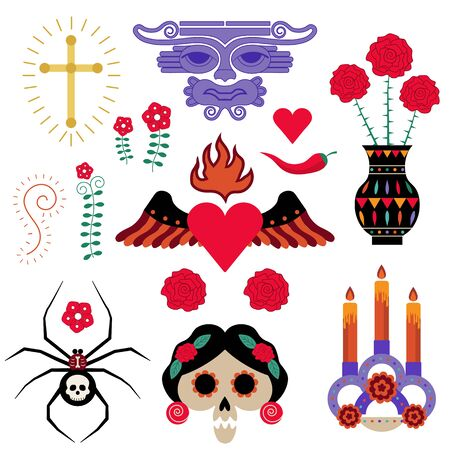 Mexican Tattoo or Sticker Elements Set