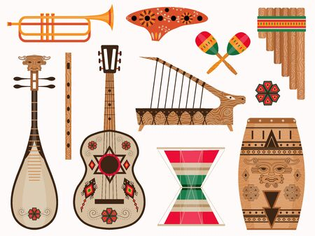 Aztec and Mexican Ethnic Musical Instruments Set