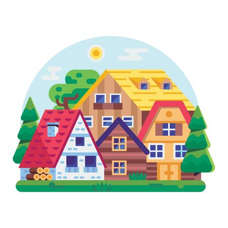 Eco Friendly District with Wooden Houses