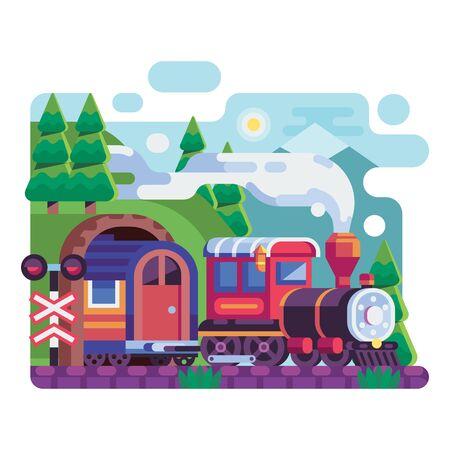 Old Retro Locomotive with Wagon on Mountains 向量圖像