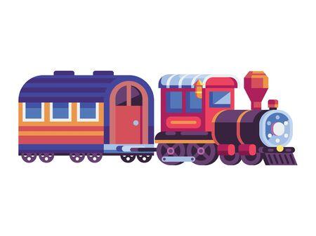 Retro Steam Train with Wagon in Flat