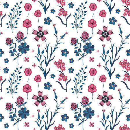Meadow Wildflowers and Herbs Botanical Pattern 向量圖像