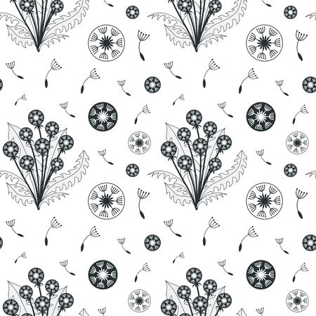 Seamless Botanical Pattern with Dandelion Flowers