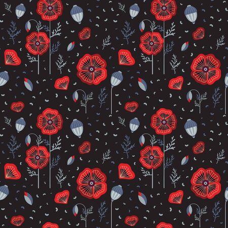 Red Poppy Wildflower Botanical Pattern 向量圖像