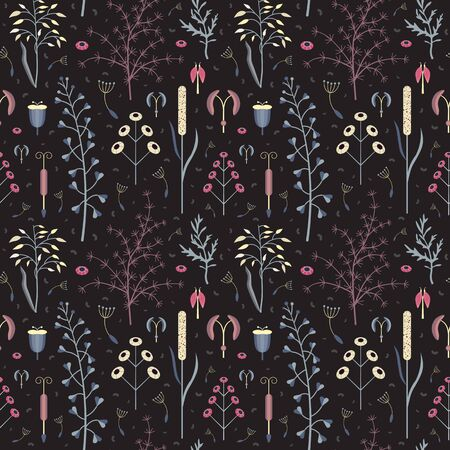 Botanical Pattern with Wildherbs and Meadow Plants 向量圖像