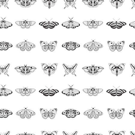 Tropical moth pattern with monochrome exotic butterflies silhouettes on white. Exotic rainforest insects seamless background for prints, textile and fabric designs.