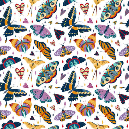 Tropical moth pattern with colorful exotic butterflies on white. Exotic rainforest insects seamless background for prints, textile and fabric designs.